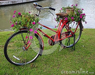 rot malte fahrrad mit einem eimer bunten blumen stockfoto bild 31095940. Black Bedroom Furniture Sets. Home Design Ideas