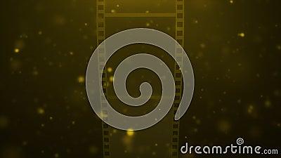 Rotação abstrata do rolo de película dourada video estoque