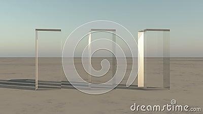rotación de cristal en el desierto, mundo de los rectángulos 4K tres de la ciencia ficción ilustración del vector