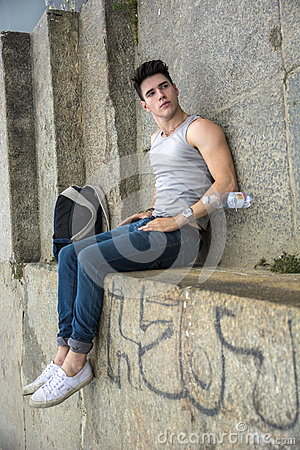 Free Rotated Image Of Man Lying On Ground With Feet Up Royalty Free Stock Photos - 58885308