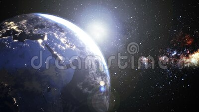 Rotatie van de Aarde van de Aarde Europa en de zone van Afrika met van nacht aan dagzonsopkomst mooi, Wolken rond felle zon stock illustratie