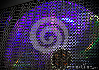 Rotating fan cooler with colorful LED illumination