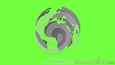 Rotating Planet Earth Silver Globe. Chroma Key Green Screen - Alpha, Luma, Matte 4K 60 fps footage background.  stock footage