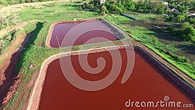 Rote Seen in Kryvyi Rih, Ukraine, Luftfoto stock footage