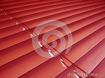 Rote venitian Vorhänge.