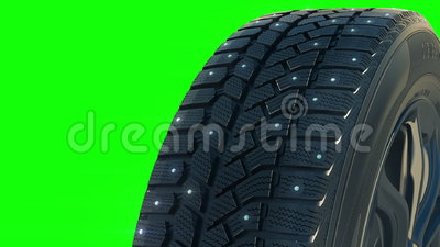 Roteert het auto beslagen wiel van de de winterband binnen op camera stock illustratie