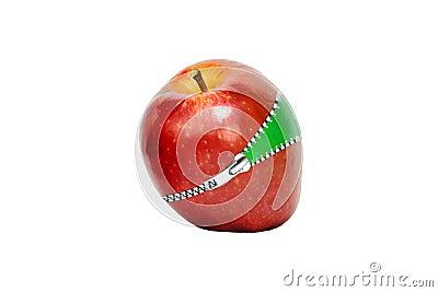 Roter Apfel mit Reißverschluss