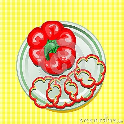Roter Gemüsepaprika auf einer Platte mit Scheiben