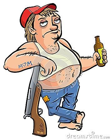 Roter Hals, der eine Bierkarikatur hält
