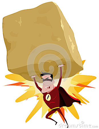 Roter Superheld, der schweren großen Felsen anhebt