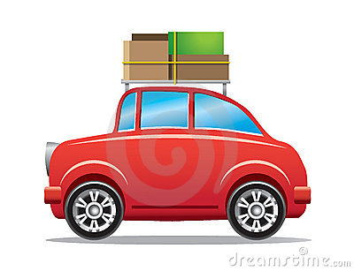 Rotes Auto mit Gepäckzahnstange