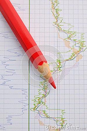 Rotes Bleistift- und Ablagendiagramm