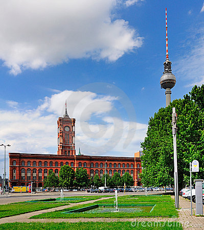Rotes Rathaus and Fernsehturm, Berlin Editorial Photo