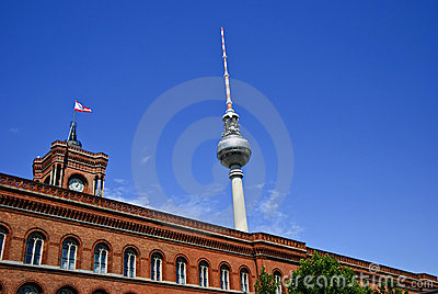 The Rotes Rathaus and Fernsehturm, Berlin Germany