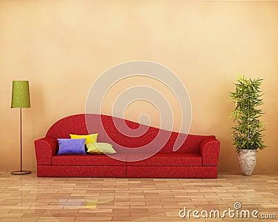 rotes sofa mit parkett, lampe, anlage und kissen lizenzfreies, Hause ideen