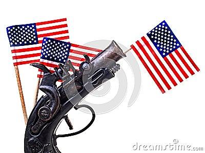 Rotes weißes u. blaues Farbband u. Gewehr