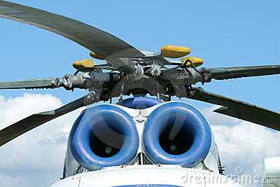 Rotors and engines of russian helicopter MI-8