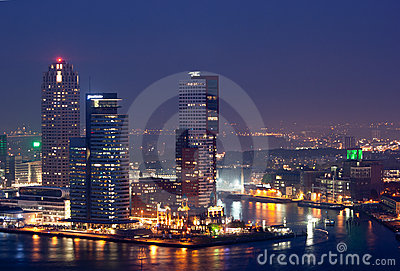Rotterdam city at night