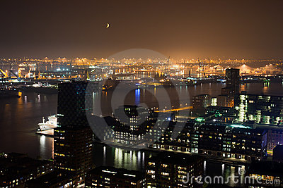 Rotterdam harbor night