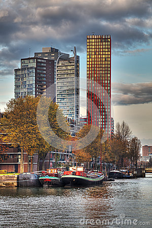 Rotterdam Linia horyzontu Fotografia Editorial