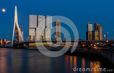 Rotterdam skyline after sunset