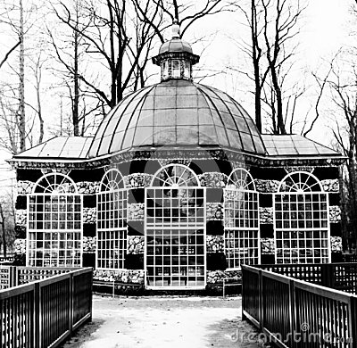 Rotunda in Black-and-white, Peterhof, winter time