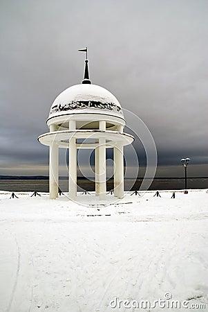Rotunda on winter lake
