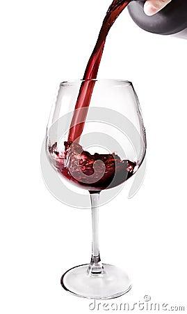 Rotwein gegossen