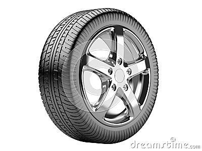 roue de voiture sur un fond blanc illustration stock image 40351528. Black Bedroom Furniture Sets. Home Design Ideas