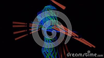 Rougeoyer des lignes sur la femme et équipe des corps, stupéfiant la représentation banque de vidéos