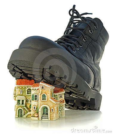 Rough boot treads on houses