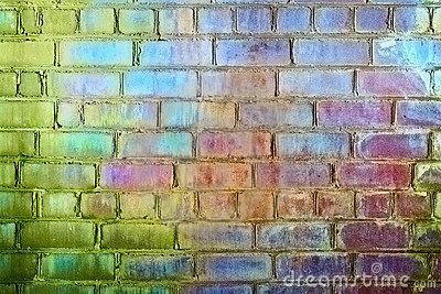 Rough brick wall iridescent colors of rainbow
