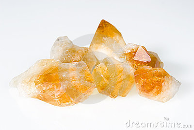 Rough citrine gemstones