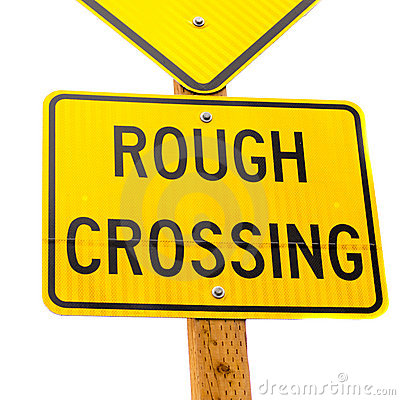 Rough Crossing Yellow Road Sign