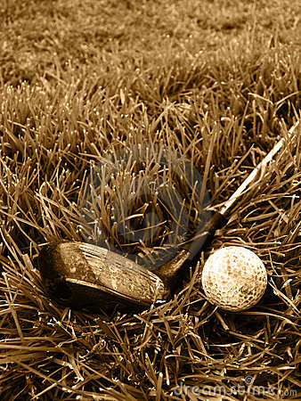Free Rough Old Gold Club And Ball Stock Photos - 4910153
