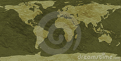 Rough-textured world map
