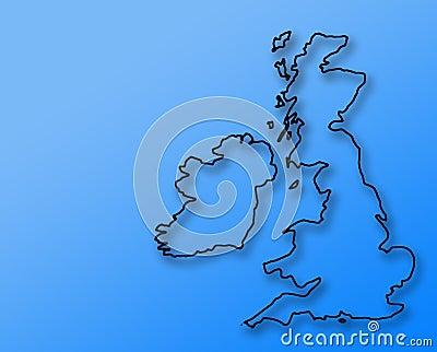 Rough UK sketch on blue