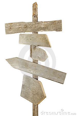 Rough wood signs on post