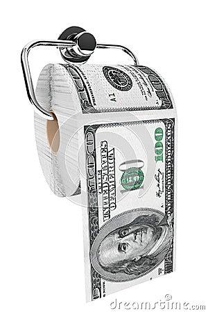 Rouleau de 100 billets d un dollar comme papier hygiénique sur le support de chrome
