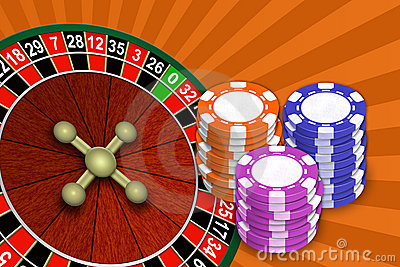Roulette and chips on an abstract background