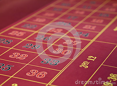 Roulette layout in a casino