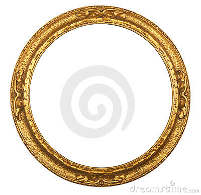 Round antique gilt picture frame