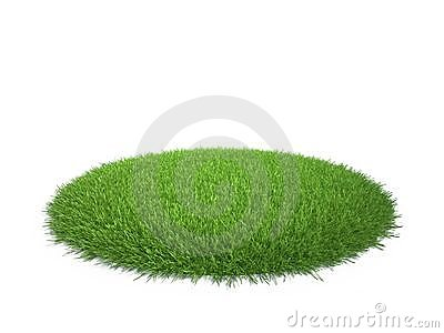 Round area of green grass
