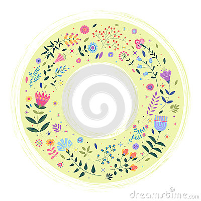 Free Round Background For Text With Decorative Images Of Flowers, Plants, Leaves And Small Circles. Stock Photo - 90697510