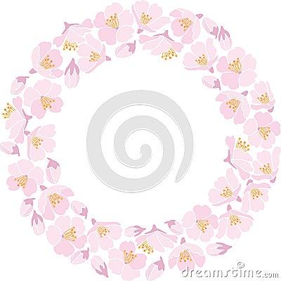Round backround with apple blossom
