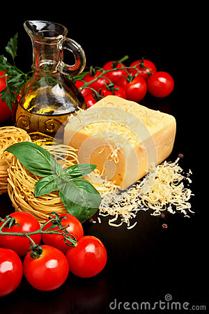 Free Round Balls Of Pasta With Cheese, Tomatoes,basil,olive Oil On Black Royalty Free Stock Images - 58463389