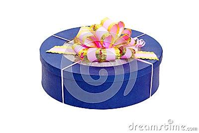 Round blue gift box