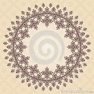 Round vector brown vintage ornament on light beige Vector Illustration