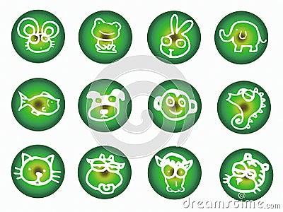 Round button with animals
