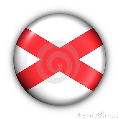 Round Button USA State Flag of Alabama